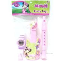 Jam Tangan + Party Toys Karakter Minnie Mouse Mainan Anak Perempuan