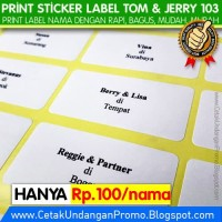 Cetak / Print Label Nama Tamu undangan Sticker Tom & Jerry 103 PUTIH