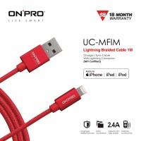 ONPRO UC-MFIM Kabel Charger MFI Lightning Braided 1M - Merah