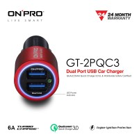 ONPRO GT-2PQC3 Charger Mobil Dual USB Quick Charge 3.0 - Merah