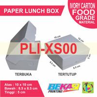 PLI-XS00   Paper Lunch Box Ivory Polos ukuran XS - 10 x 10 x 5 cm