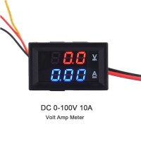 Dual Volt Amp Meter Digital Ampere Meter Voltmeter 10A 0-100V Ammeter