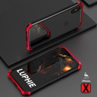 LUPHIE bumper Case IPHONE XR metal aluminium back tempered glass cover