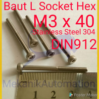 Baut L M3 x 40 Hex Stainless 304