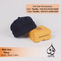 Miki Hat Peci Brimless Caps Miki Mickey Beanie Hijrah Warna Biru Navy