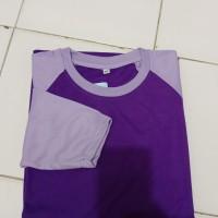 kaos raglan lengan panjang ungu tua mixs ungu muda wanita /pria