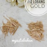 Paku connector 2 lobang gold 2cm
