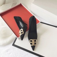 2018 new autumn and winter pointed shoes sheep Beijing suede high-he