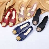 Summer sandals jelly shoes hollow metal square buckle wedge heel san