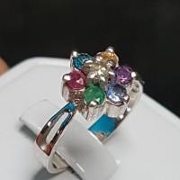 C899 Cincin 7 warna intan berlian zamrud ruby safir topas kecubung