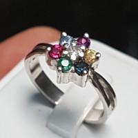 C900 Cincin 7 warna intan berlian zamrud ruby safir topas garnet