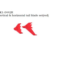 EK1-0442R Vertical & horizontal tail blade set (red) RC Helicopter 450