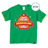 Kaos Anak AF156 Love & Follow Rasulullah, Peace &..by Afra Kids Size L