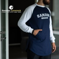 SAMASE SWEATER CREWNECK 11A06331 NAVY WHITE
