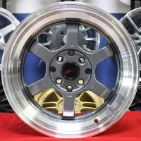 Velg Mobil R15 HSR RIFU Grey Racing Nissan March Brio Calya Sigra