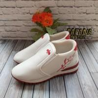 Sepatu Wanita Slip On Bordir Bunga SDS254 Putih List Merah