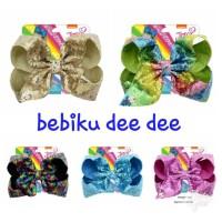 Jepitan Rambut Anak Besar Sequin Jojo Siwa/Hairclip/Hairbow 8inch