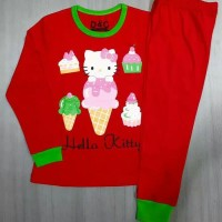 Baju tidur/ piyama anak karakter Hello Kitty Ice merah 1 sd 6 thn