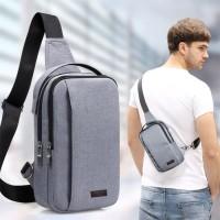 Tas Slempang Sling Bag Compact kanvas water proof (anti air) V619