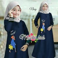 Mischa Kids/Gamis Moscrepe/Gamis Anak Sablon/Maxi Dress/Baju Muslim