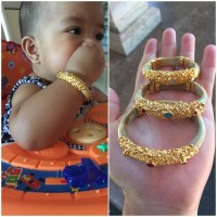 Gelang Uli Akar Bahar kombinasi perak lapis emas untuk bayi dan anak