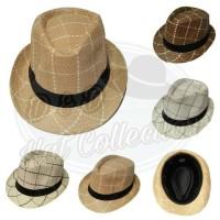 f59cf47bf4e88 Topi Fedora Anyaman Import Motif Kotak Topi Fashion Pria