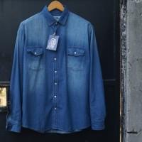 EASTLORE Denim Shirt Blue Two Pocket BIGSIZE - Kemeja JEANS JUMBO SIZE
