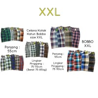 Celana Pendek Santai Besar Katun Motif Kotak Karet Bobbo XXL dan XXXL