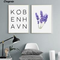 G Huruf Nordic Bunga Wall Art Poster Kanvas Lukisan Hidup Dekorasi R
