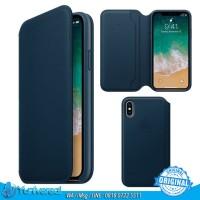 Apple iPhone X Case Leather Folio - Cosmos Blue ORIGINAL