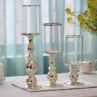 Tempat Lilin Candle Holder Silver Metal Glass Candle Holder - Large