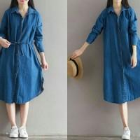 dress bigsize denim/Dress wanita jumbo/Dress denim murah/Dress simple/