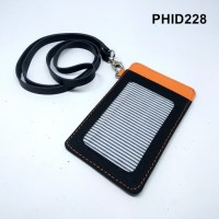ID card holder kain tali kulit asli hitam kombinasi orange PHID228