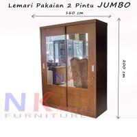 Lemari Pakaian 2 pintu JUMBO, lemari baju sliding door FULL KACA