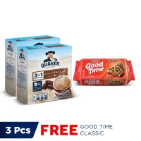 Quaker 3in1 Cokelat Box 4 Sachets - Twin Pack FREE Good Time Classic