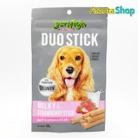Jerhigh - 50g Duo Stick Milky with Strawberry Stick cemilan anjing