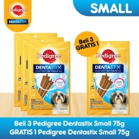 [Bundling 3 Pack] Pedigree Dentastix Small Snack Anjing Free 1 Pack