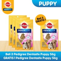 [Bundling 3 Pack] Pedigree Dentastix Puppy Snack Anjing Free 1 Pack