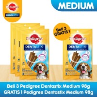 [Bundling 3 Pack] Pedigree Dentastix Medium Snack Anjing Free 1 Pack