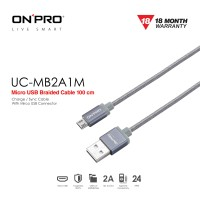 ONPRO UC-MB2A1M Kabel Charger Micro USB Braided 1M - Abu