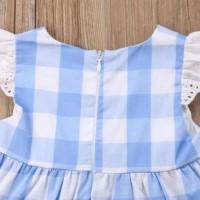 Sale Setelan Dress Bayi Motif White Blue Kotak Kotak Cantik