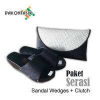 Sandal Kelom Wedges Plus Clutch Paket Bundling Murah