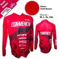 Jersey Sepeda Baju DH Commencal Merah - Lengan Panjang