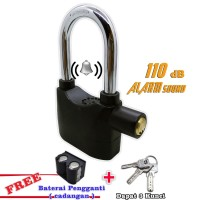 Gembok Alarm 110dba Motor Suara Anti Maling - Lock Siren - Hitam