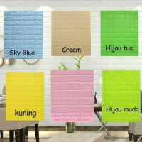 Wallpaper 3D Foam Colorfull Batu Bata Modern 70X77 Interior Rumah wall