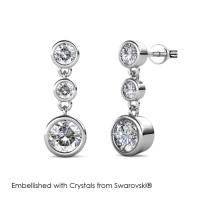 Tri Dangling Earrings - Anting Crystal Swarovski® by Her Jewellery