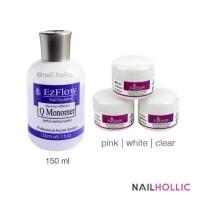 Monomer + 3 pcs nail acrylic powder ( clear, pink, white)