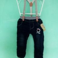 Celana Panjang Jeans dengan suspender Anak Laki laki 1, 2, 3, 4 Tahun