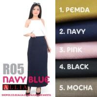 Terbaru Rok Kerja Rempel Wanita ALLIA Rok Panjang R05 *Navy Blue* M