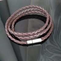 gelang kulit kepang coklat